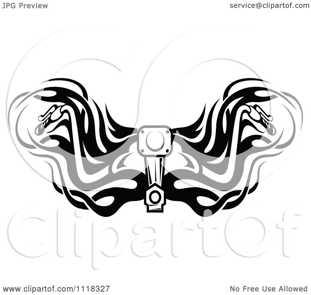 Clipart of black and white motorcycle handlebars with tribal flames