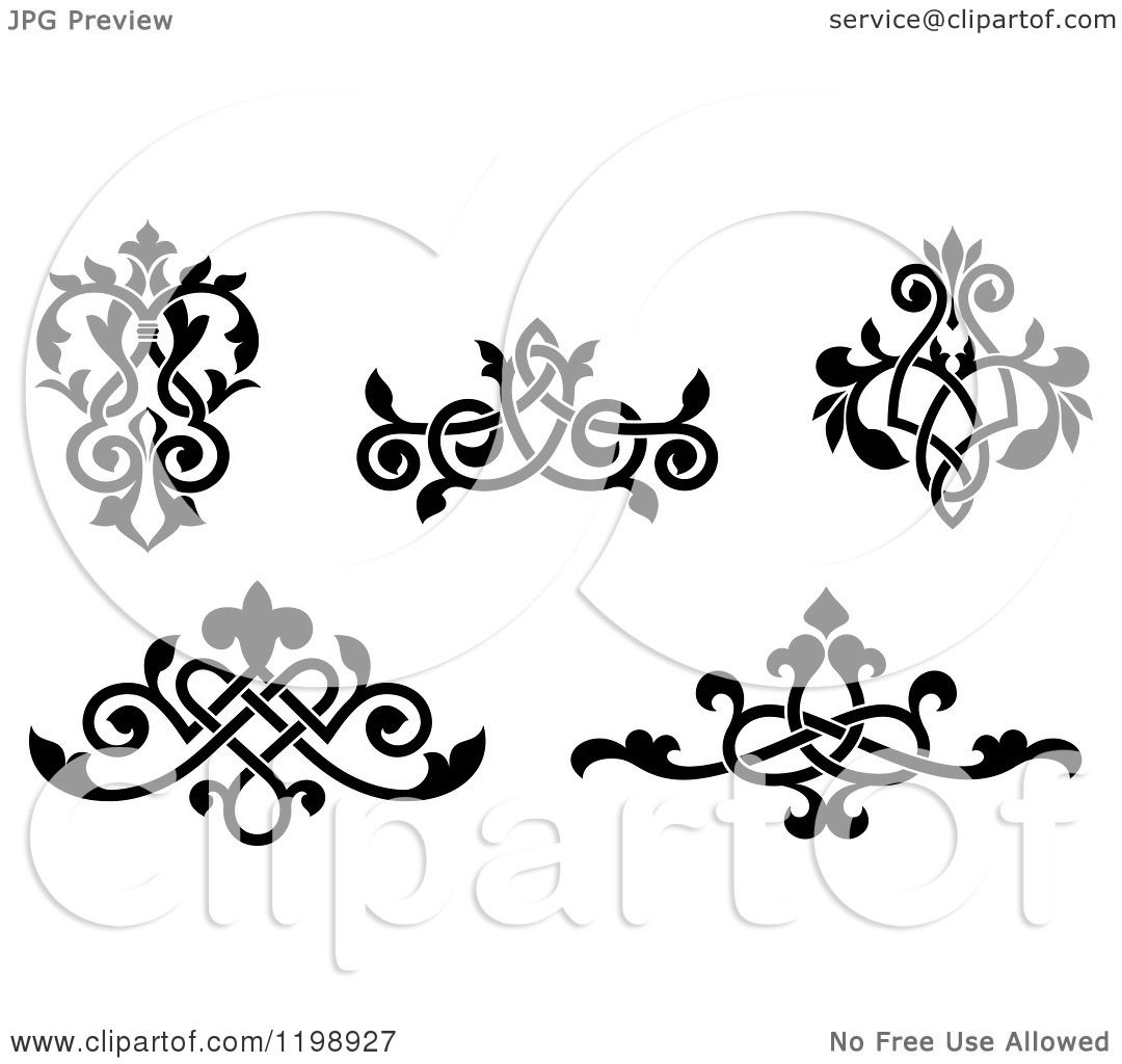 Victorian Design Elements clipart of black and white ornate floral victorian design elements