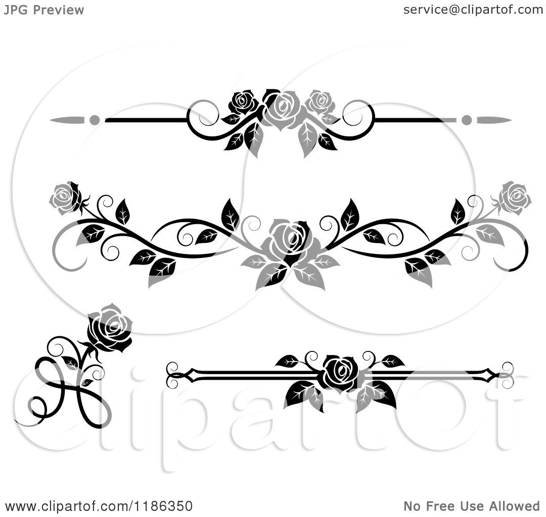 Rose Clip Art Black And White Border