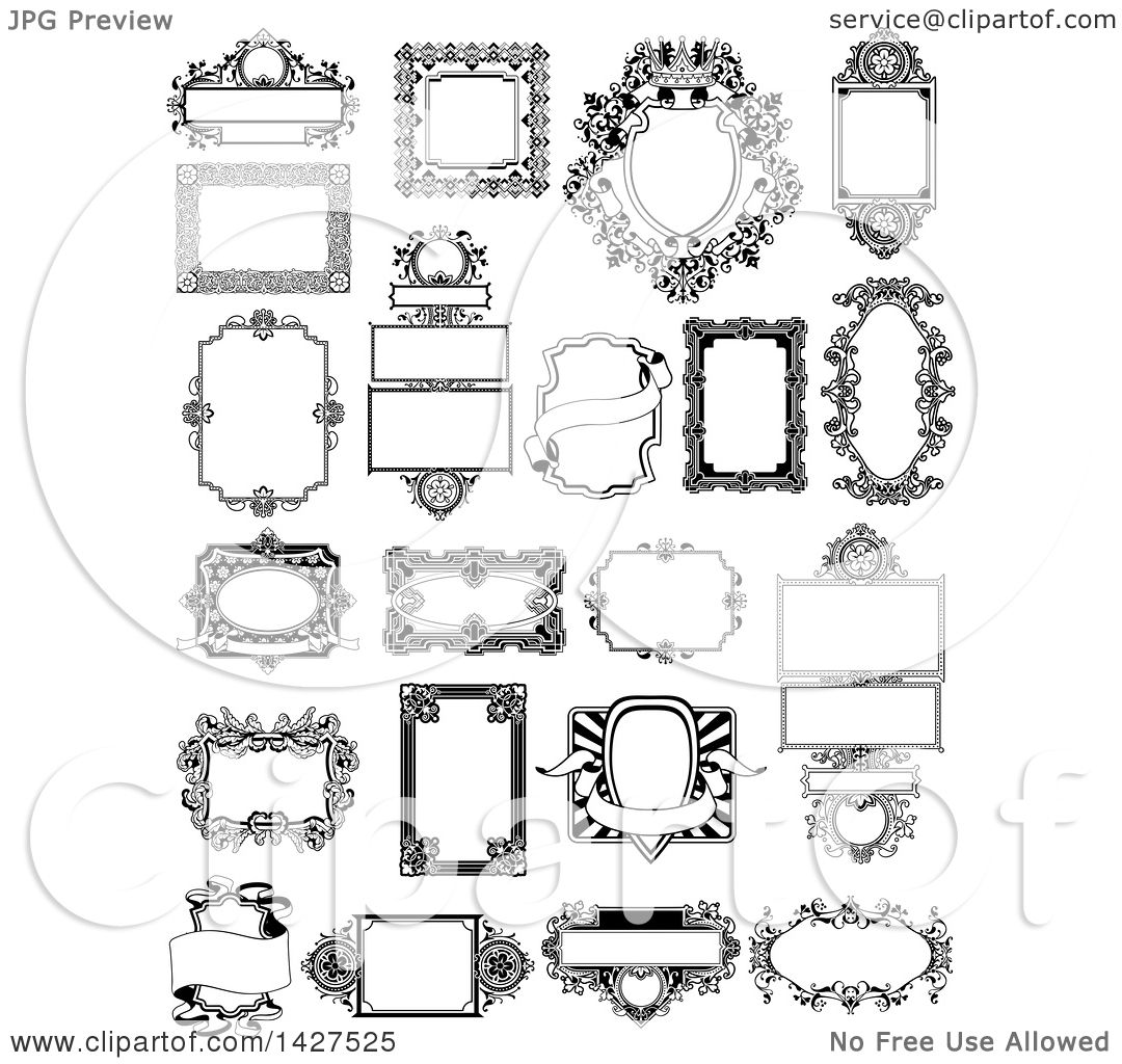 Clipart of Black and White Ornate Vintage Frames - Royalty Free ...