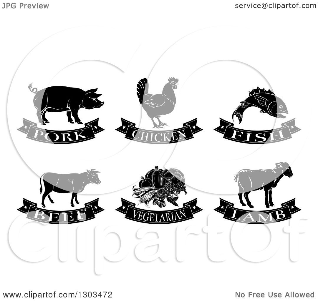 Clipart of Black and White Pork, Chicken, Fish, Beef ...
