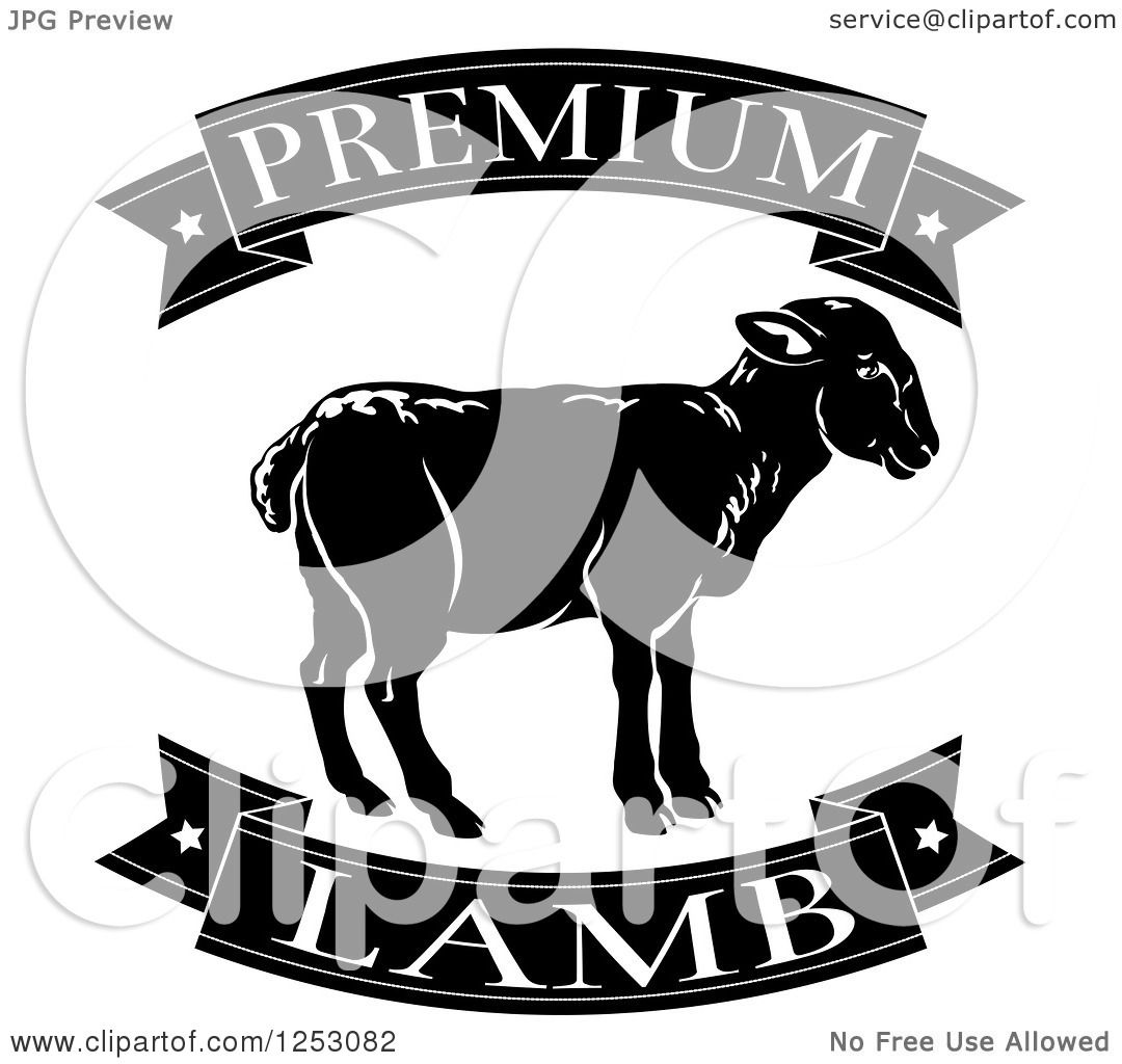 Clipart of Black and White Premium Lamb Food Banners and ...