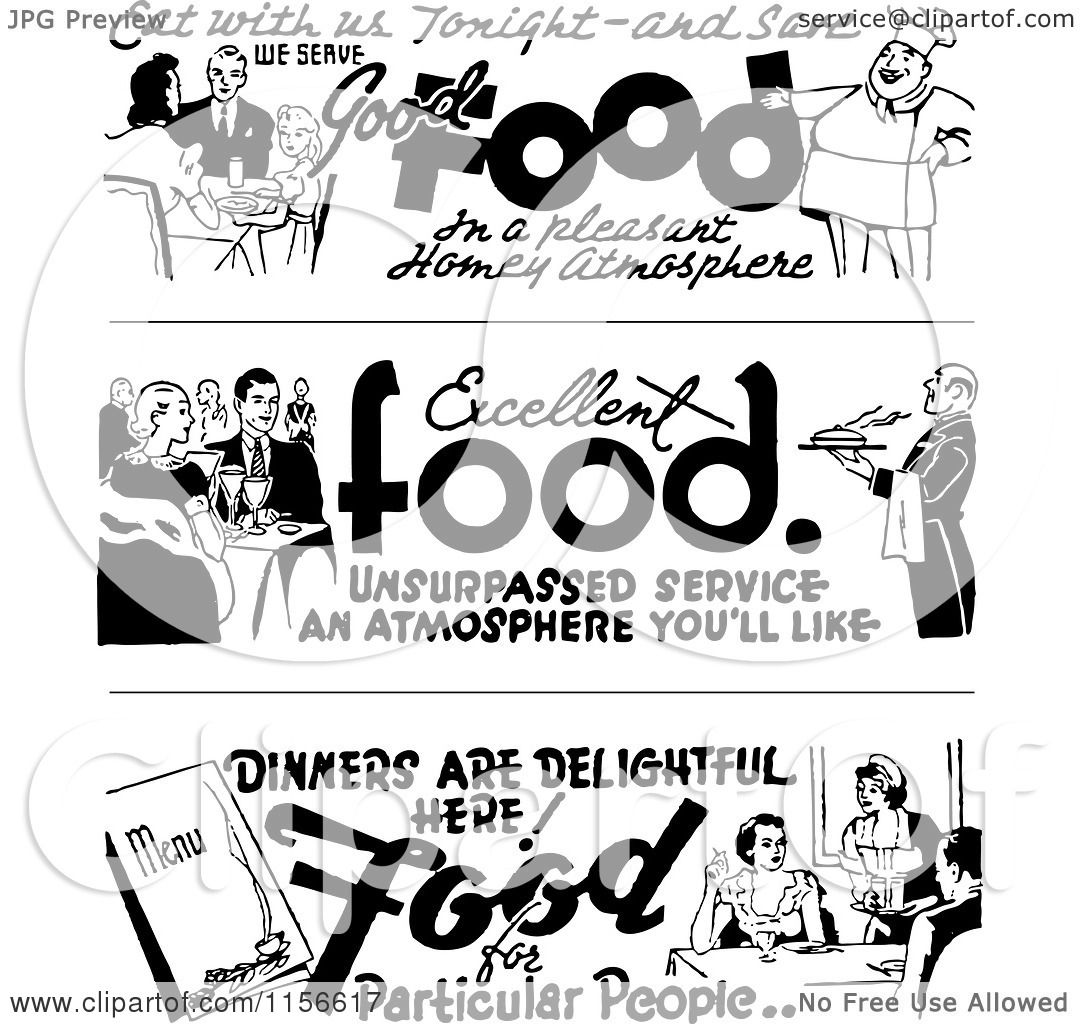 Clipart of Black and White Retro Dining Food Borders ...