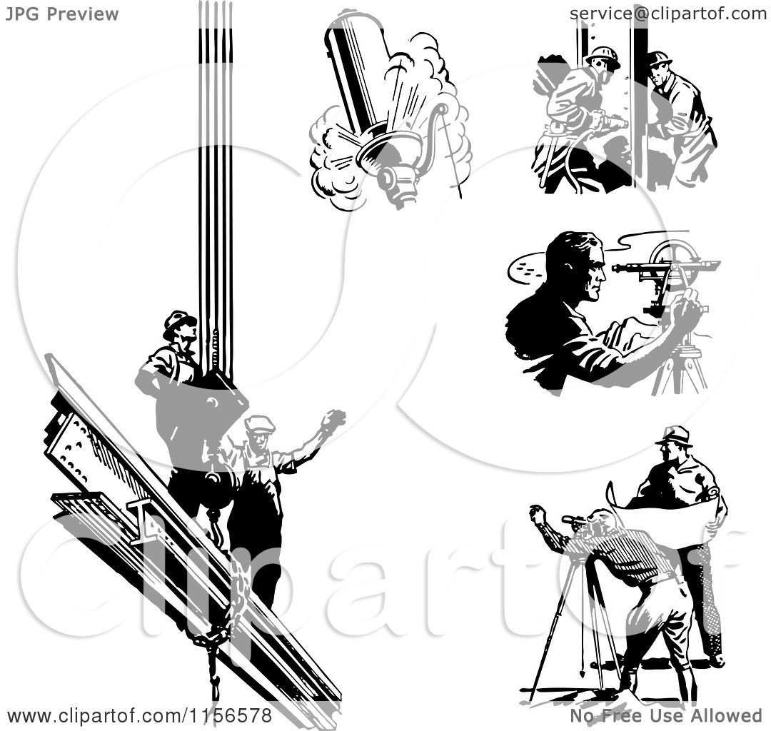 Clipart Of Black And White Retro Engineers Surveyors And