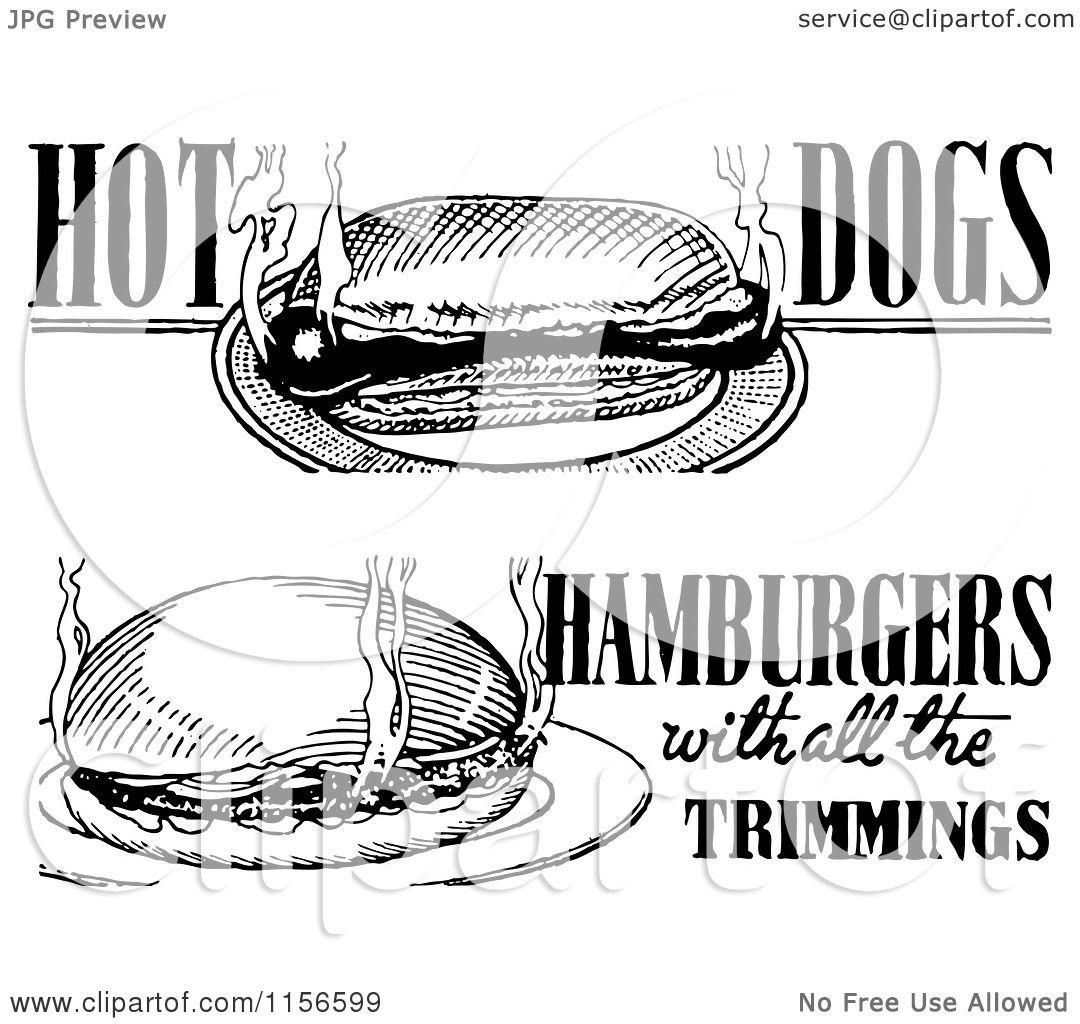 Clipart of Black and White Retro Hot Dog and Hamburger ...