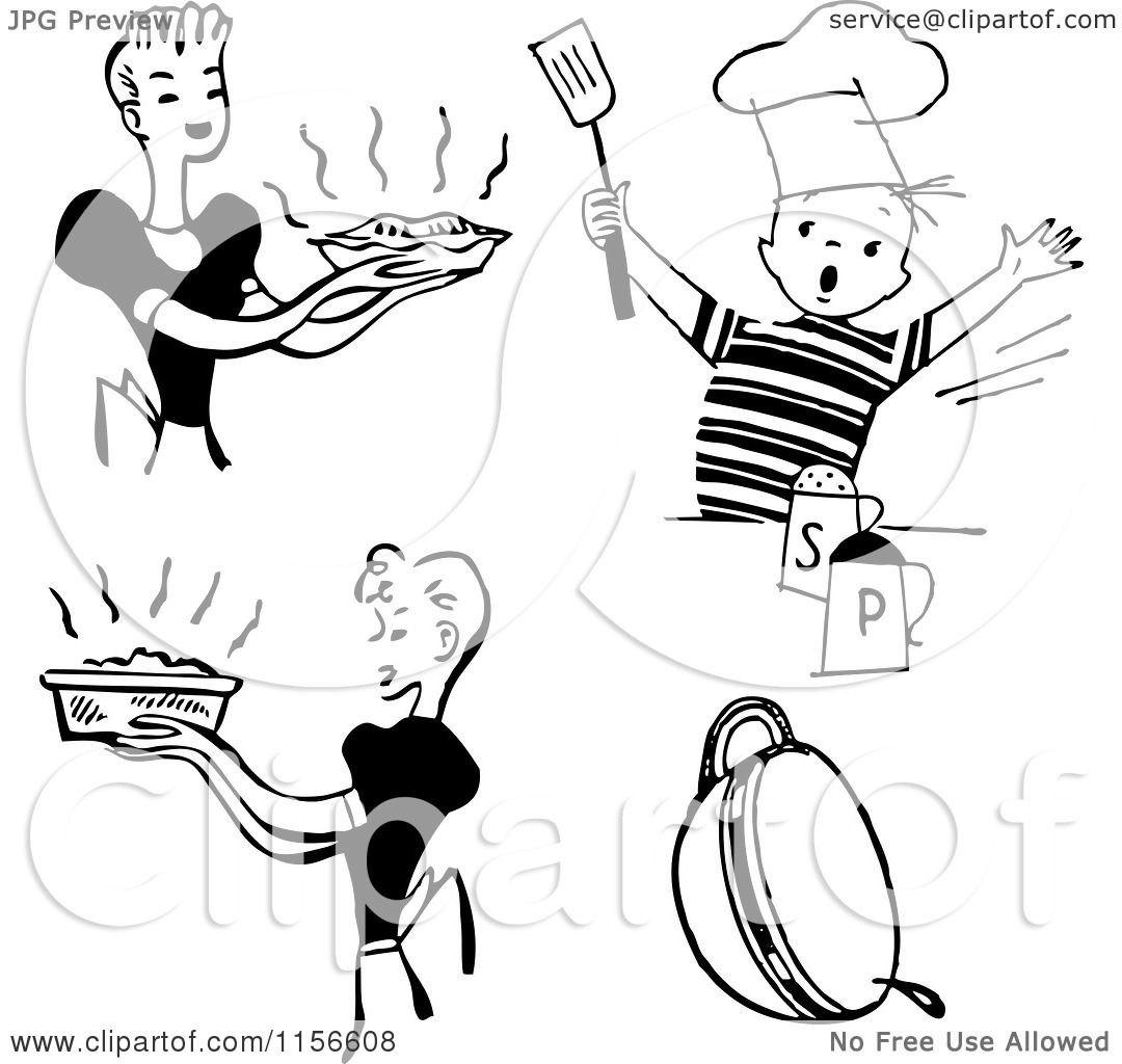 Clipart of Black and White Retro Housewifes and Boy ...