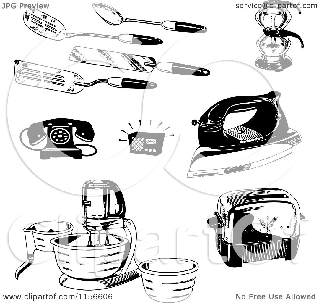 Clipart Of Black And White Retro Kitchen Utensils