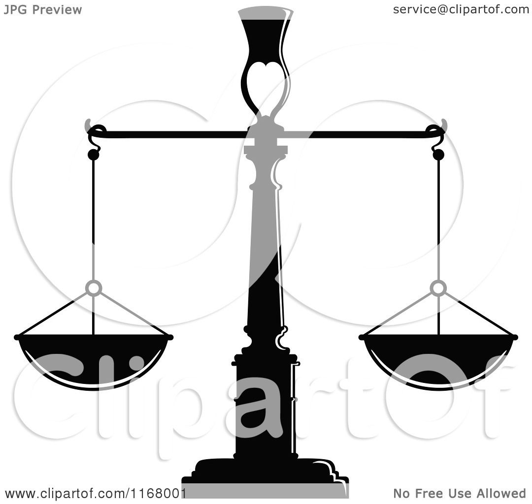Clipart Of Black And White Scales Of Justice 2