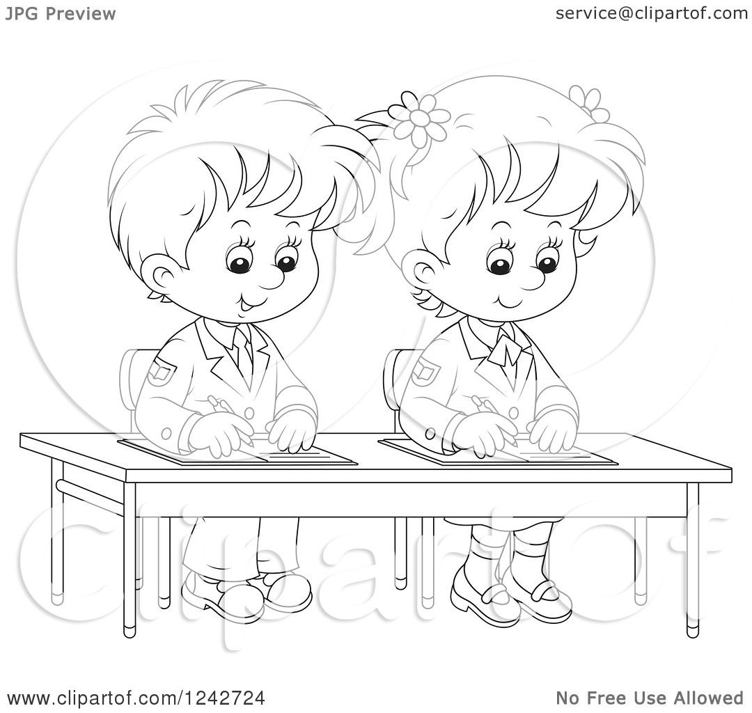 Clipart of Black and White School Children Writing at ...