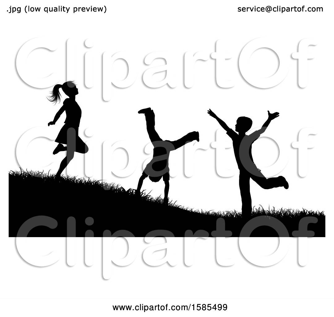 Children playing outside. Children silhouettes playing outside.