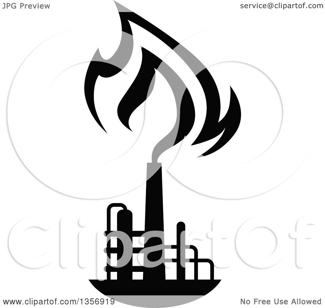 clipart of black and white silhouetted natural gas and flame factory rh clipartof com natural gas energy clipart natural gas pipeline clipart