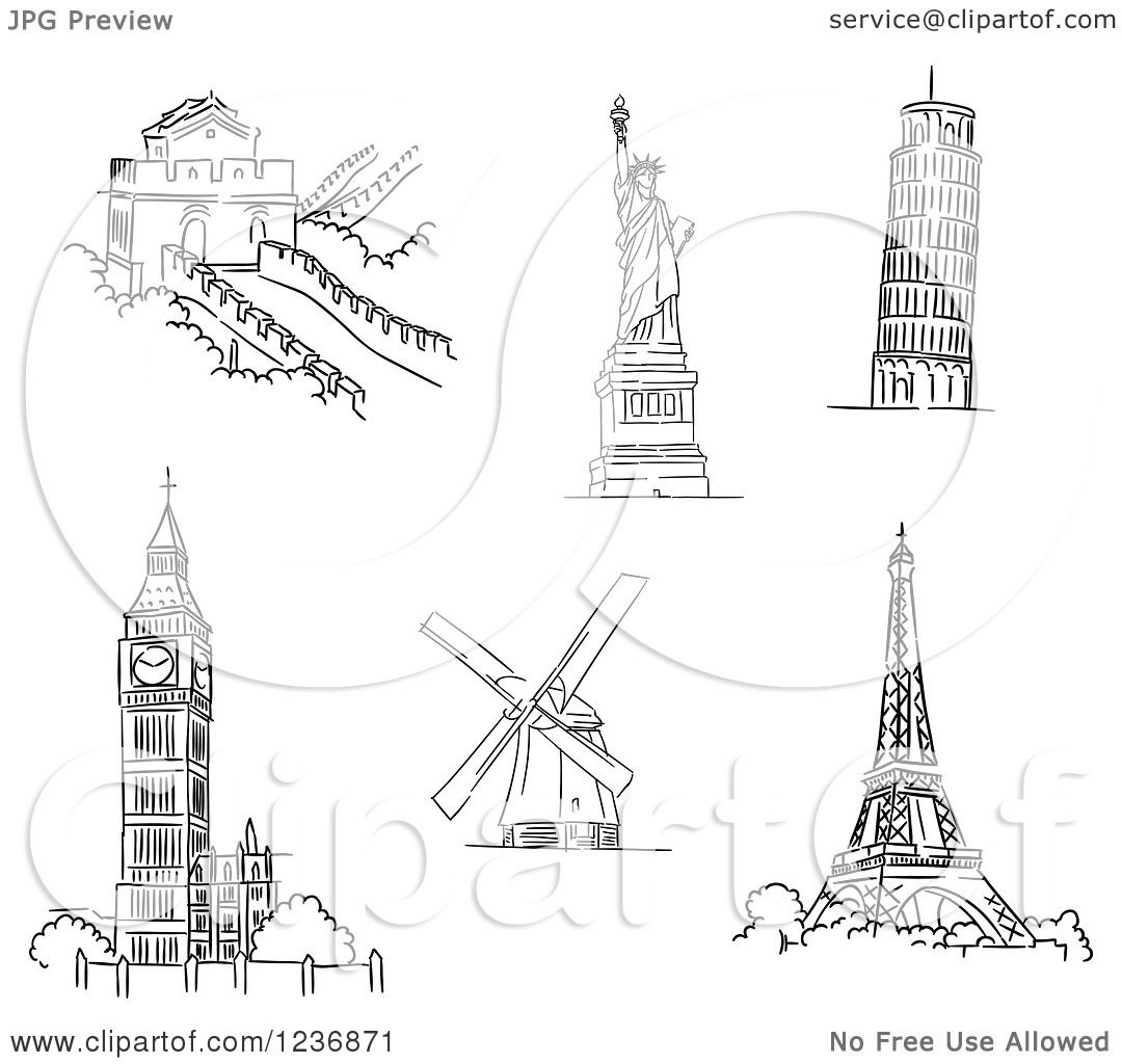 Clipart of black and white sketched architectural monuments and clipart of black and white sketched architectural monuments and landmarks 2 royalty free vector illustration by vector tradition sm ccuart Images