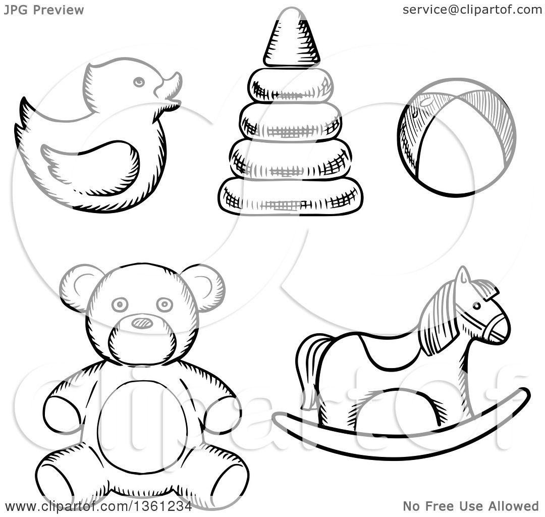 Toddler Toys Black And White : Clipart of black and white sketched baby toys royalty