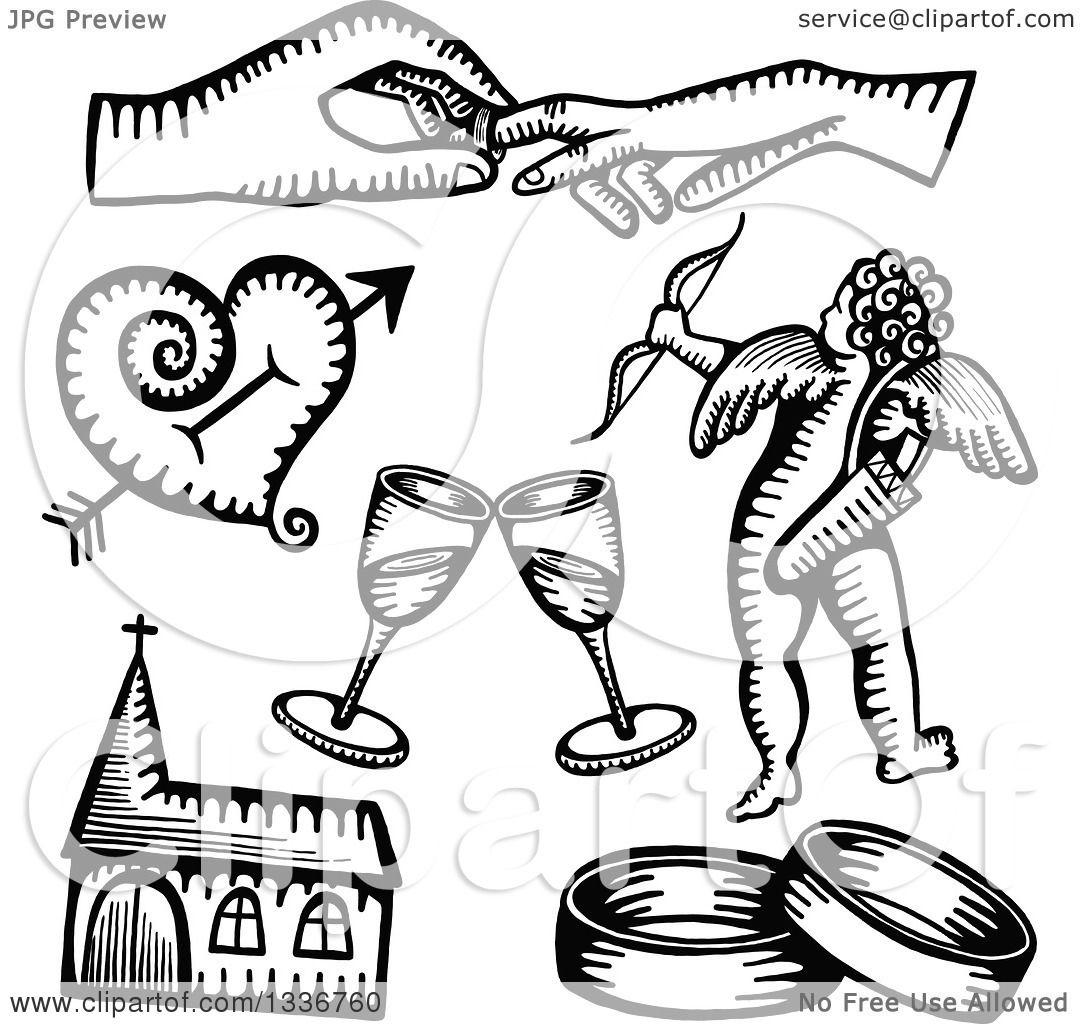 Clipart of Black and White Sketched Doodles of Wedding ...