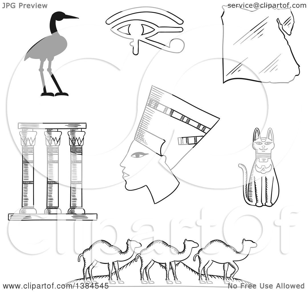 Clipart of black and white sketched egyptian icons of queen clipart of black and white sketched egyptian icons of queen nefertiti cat goddess and sacred heron bennu eye of horus symbol and temple columns map biocorpaavc Images