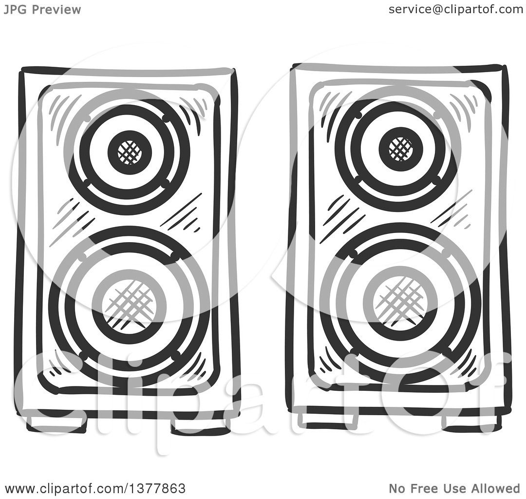 Clipart of Black and White Sketched Music Speakers ...