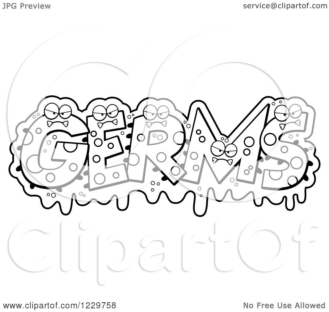 bacteria coloring pages - clipart of black and white slimy monsters forming the word