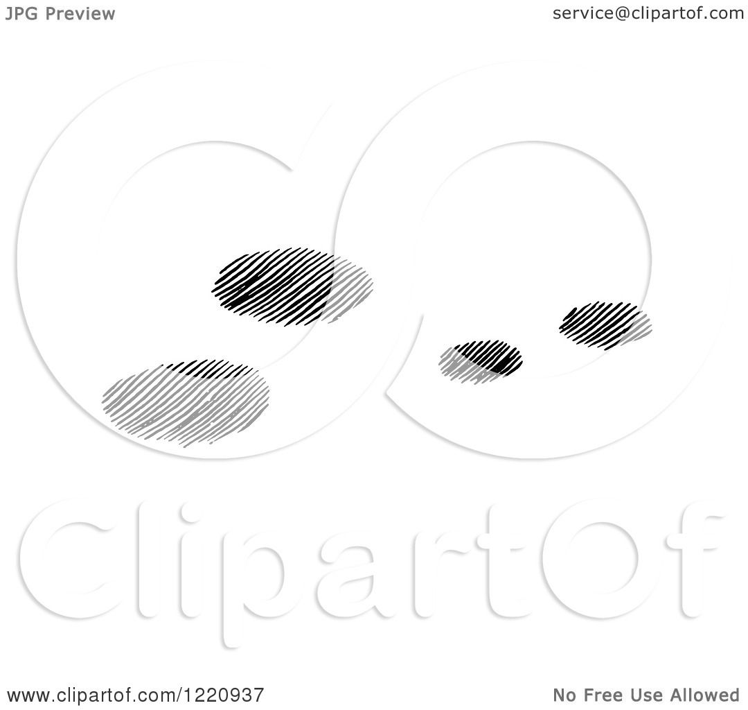 Clipart of Black and White Snowshoe Rabbit Tracks in Snow