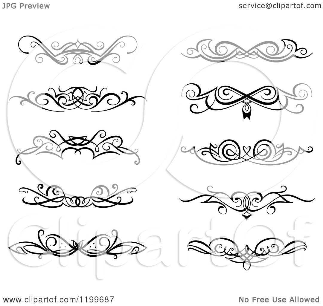 Black And White Swirl Border Flourish Design Elements 1199687 on 8 dogs illustration