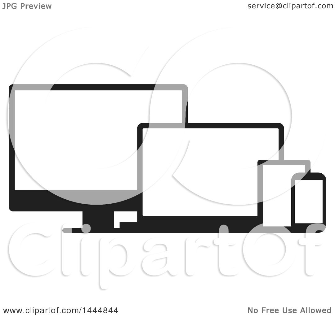tv clipart black and white. clipart of black and white television, laptop, tablet cell phone screens - royalty free vector illustration by colormagic tv