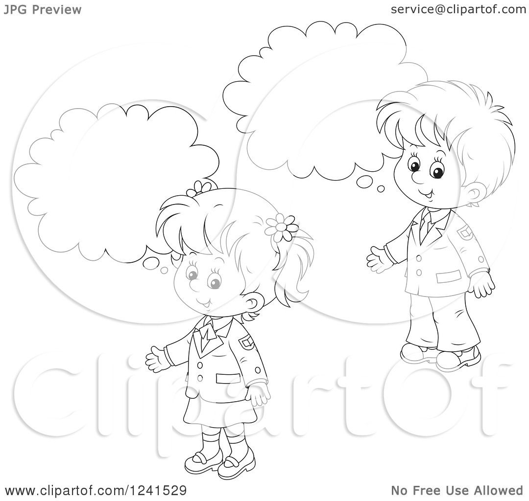 Clipart of Black and White Thinking School Children 2 ...