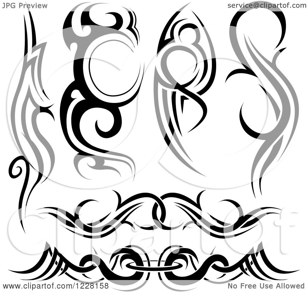 Tattoo Designs Clipart: Clipart Of Black And White Tribal Tattoo Designs 2