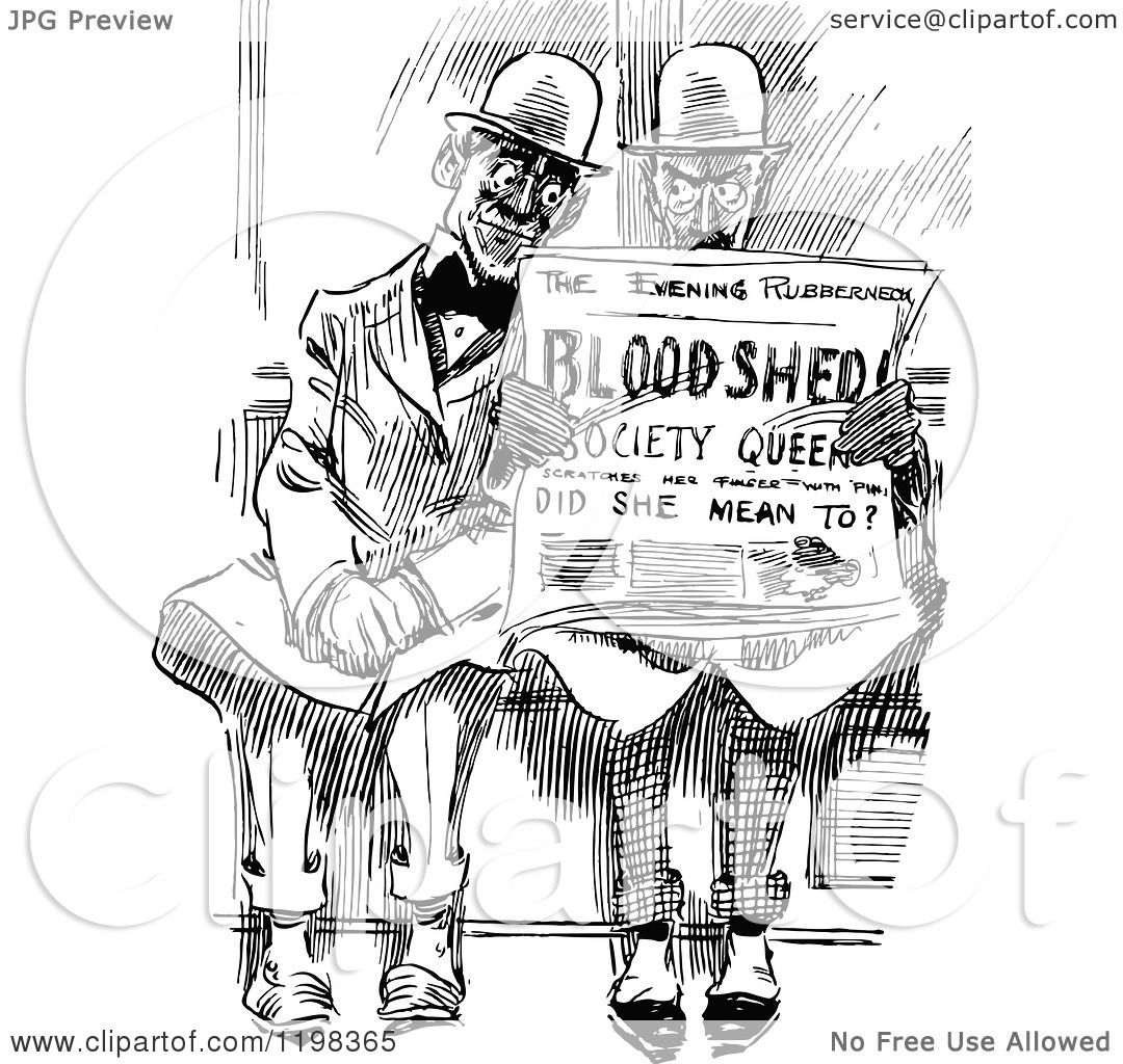 Clipart Of Black And White Vintage Men Reading A Newspaper