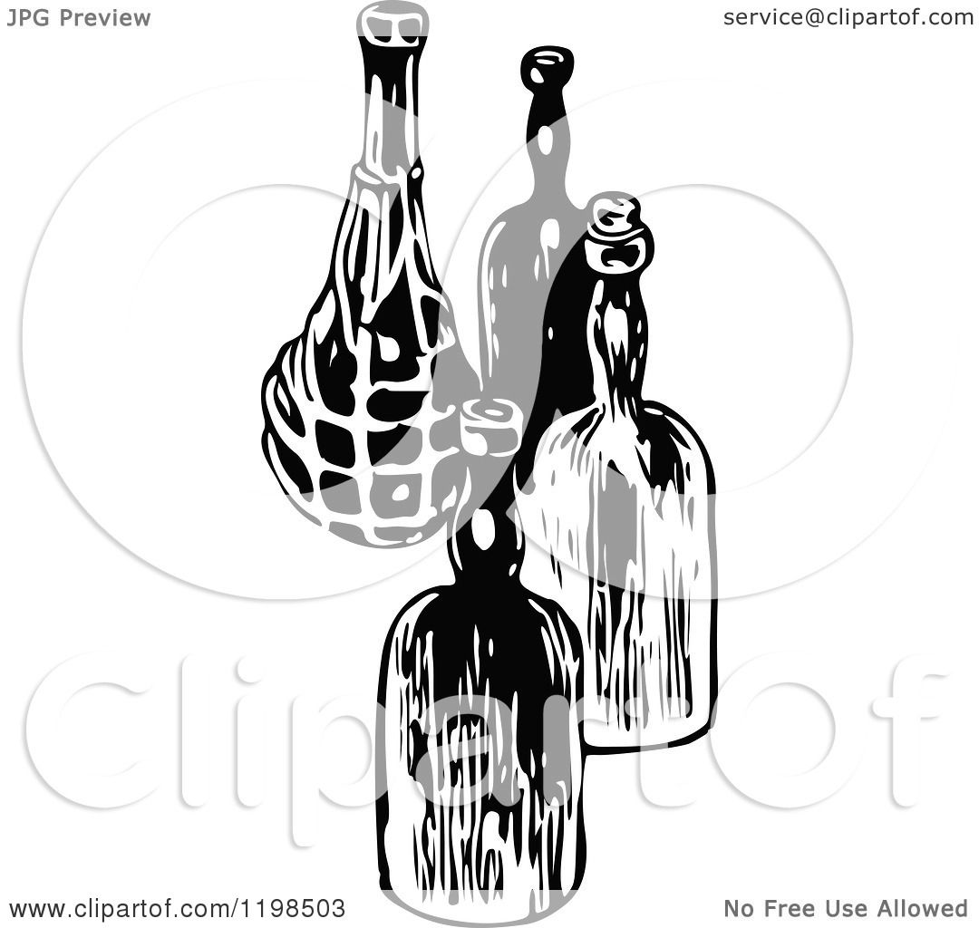 Clipart Of Black And White Vintage Wine Bottles
