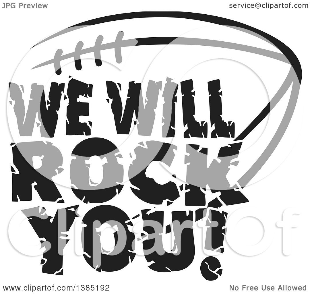 Clipart Of Black And White We Will Rock You Text Over An