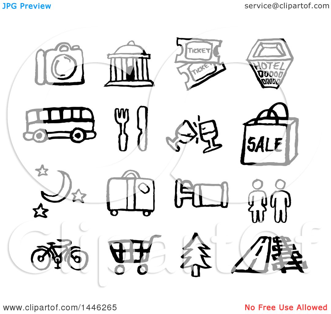 Clipart Of Black And White Watercolor Styled Travel Symbol Icons