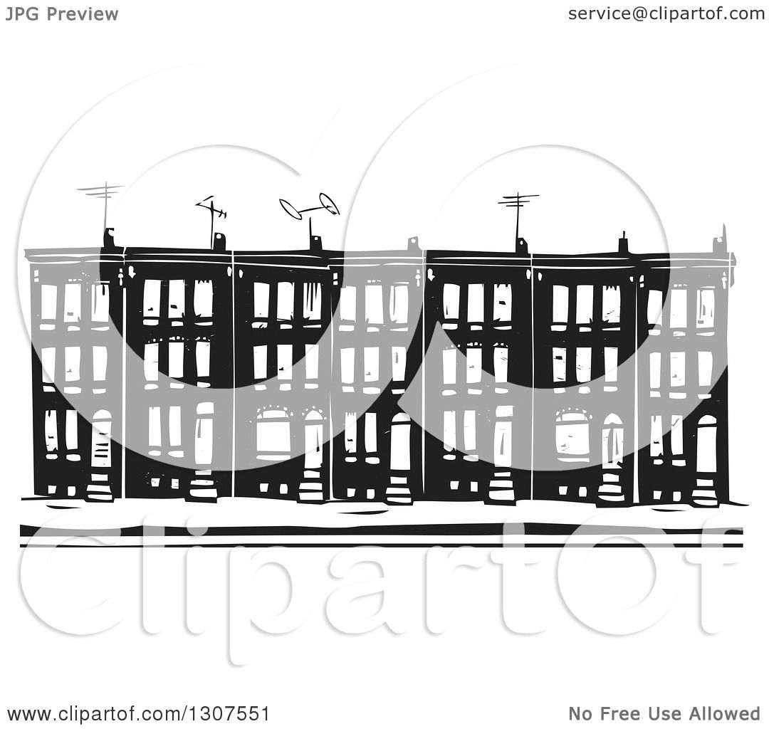 Clipart of black and white woodcut baltimore ghetto row house town clipart of black and white woodcut baltimore ghetto row house town home royalty free vector illustration by xunantunich sciox Gallery