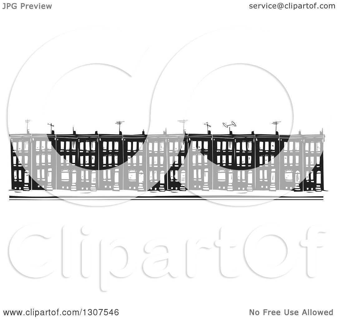 Clipart of black and white woodcut baltimore ghetto row house town clipart of black and white woodcut baltimore ghetto row house town homes royalty free vector illustration by xunantunich sciox Gallery