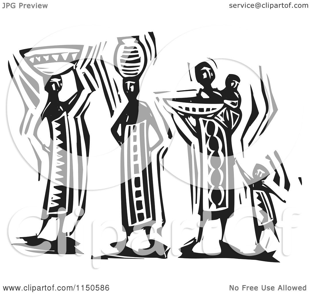 Clipart Of Black And White Woodcut Maasai Women And Child
