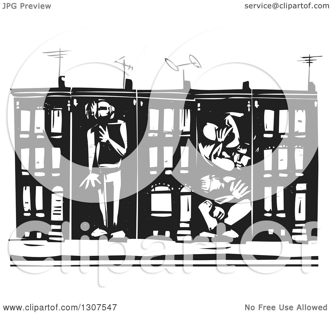 Clipart of black and white woodcut people boxed in baltimore clipart of black and white woodcut people boxed in baltimore ghetto row house town homes royalty free vector illustration by xunantunich sciox Gallery