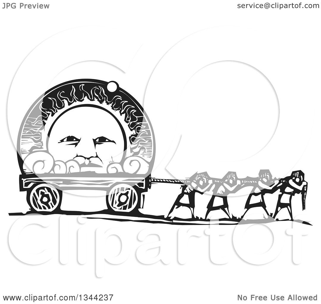 Clipart Of Black And White Woodcut People Pulling A Heliocentric View The Solar System