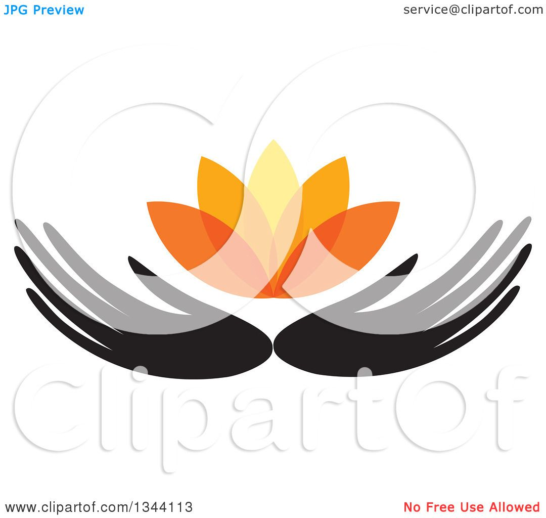 Clipart Of Black Hands Holding An Orange Water Lily Lotus Flower