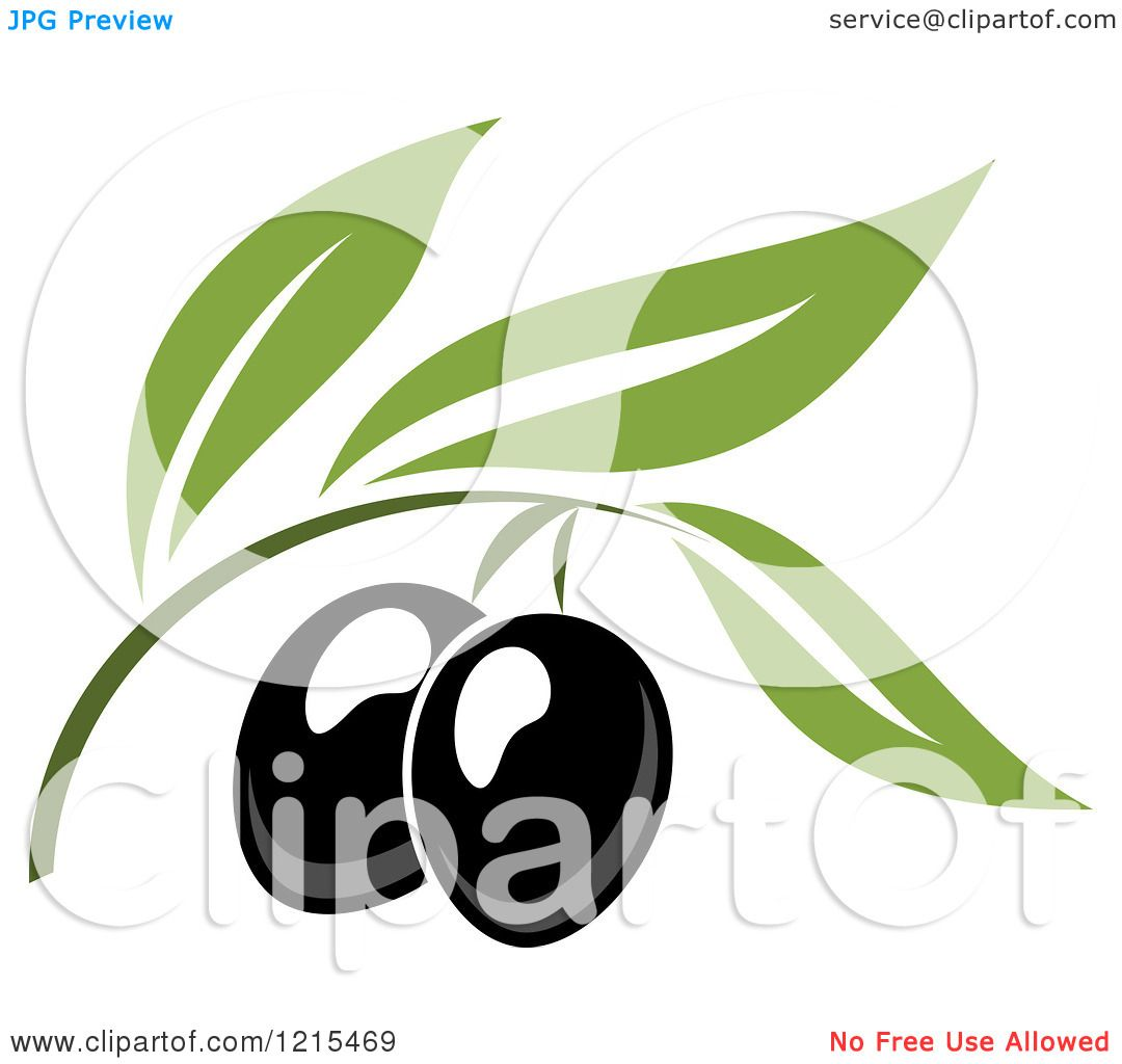 Clipart of Black Olives with Leaves 6 - Royalty Free Vector ...