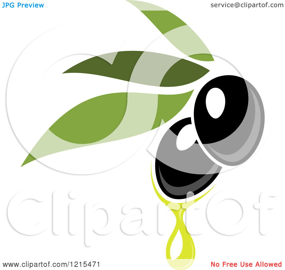 Clipart of Black Olives with Leaves and Oil Drops 2 - Royalty Free ...