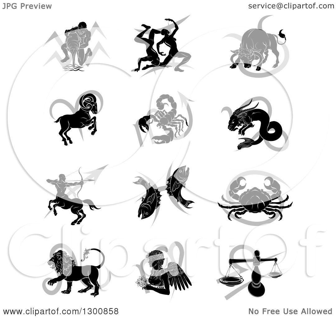 Clipart of black silhouetted astrology zodiac animals and gray clipart of black silhouetted astrology zodiac animals and gray symbols royalty free vector illustration by atstockillustration biocorpaavc