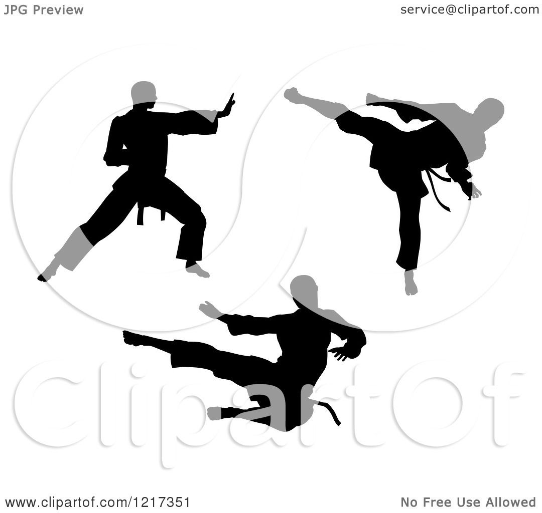 Clipart Of Black Silhouetted Karate And Martial Arts Men