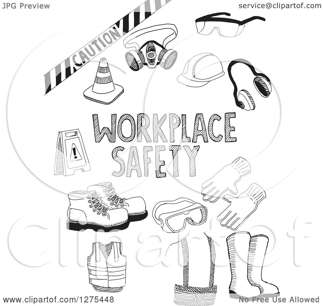 Clipart Of Black Sketched Workplace Safety Items Royalty