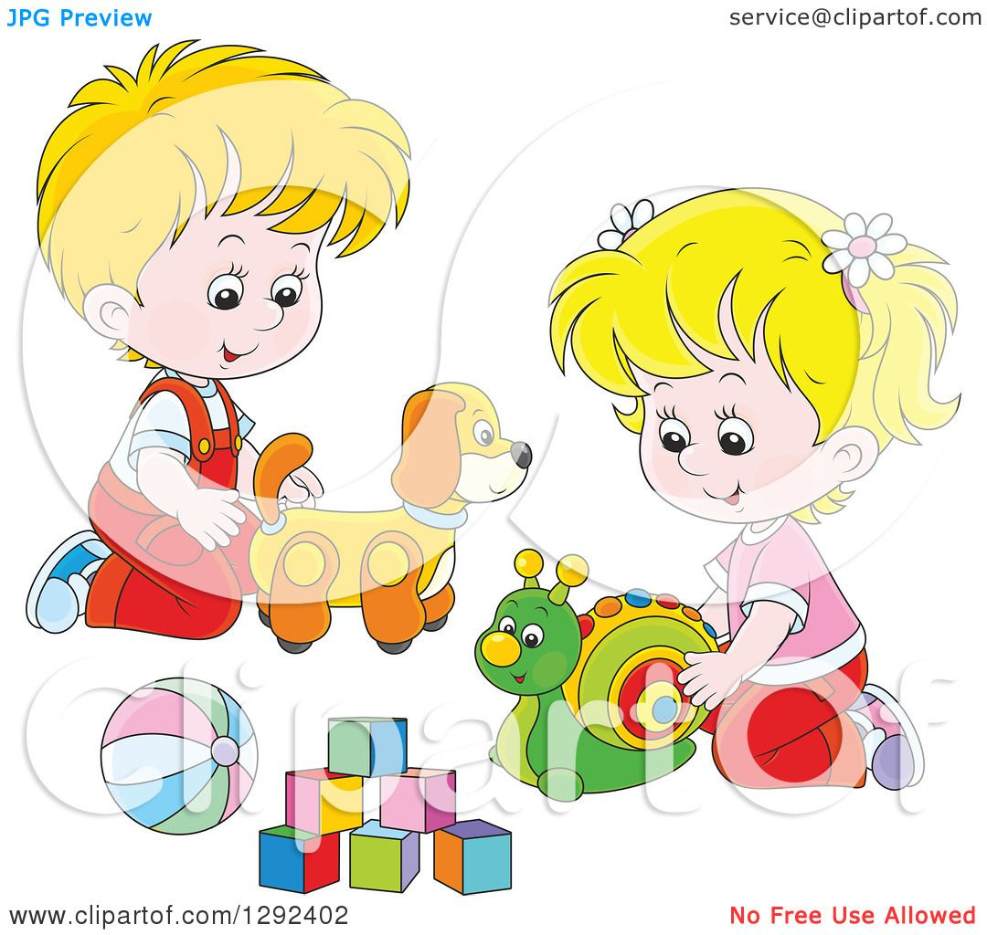 Clipart of Blond White Children Playing with a Toy Dog ...