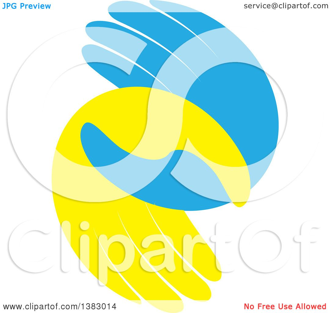 Clipart of Blue and Yellow Hands - Royalty Free Vector ...