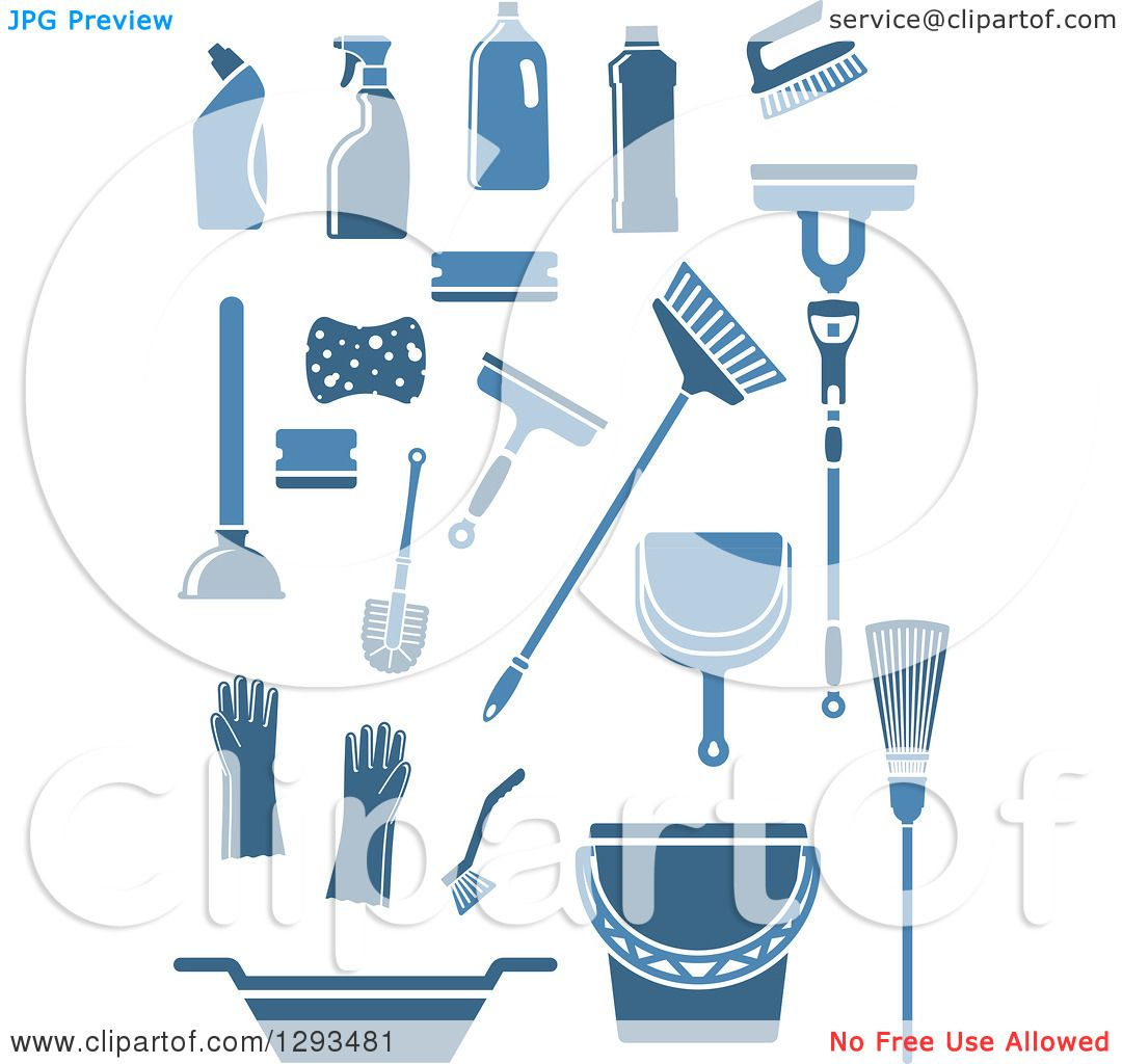 Clipart of Blue Janitorial and Cleaning Items - Royalty Free ...
