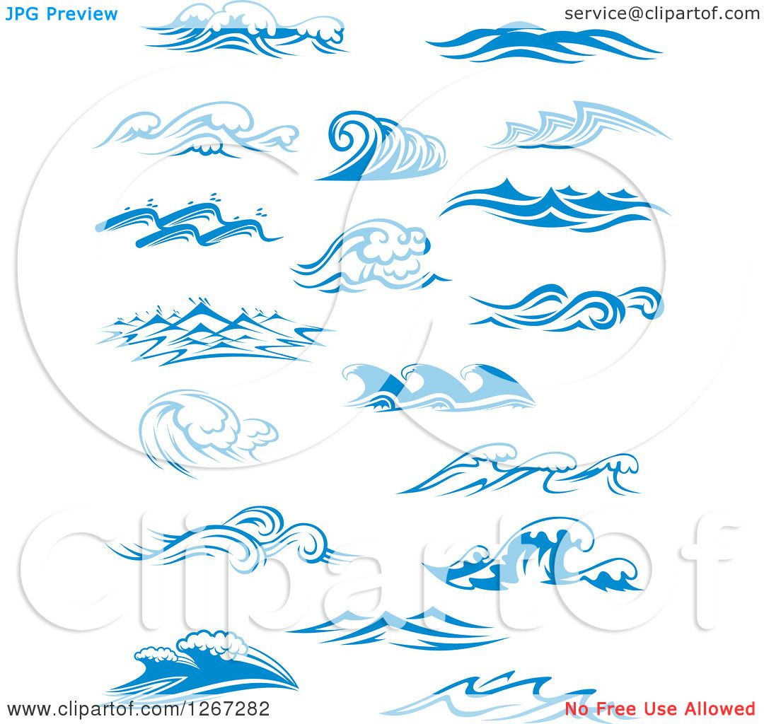Clipart of blue ocean waves designs royalty free vector - Blue ocean design ...