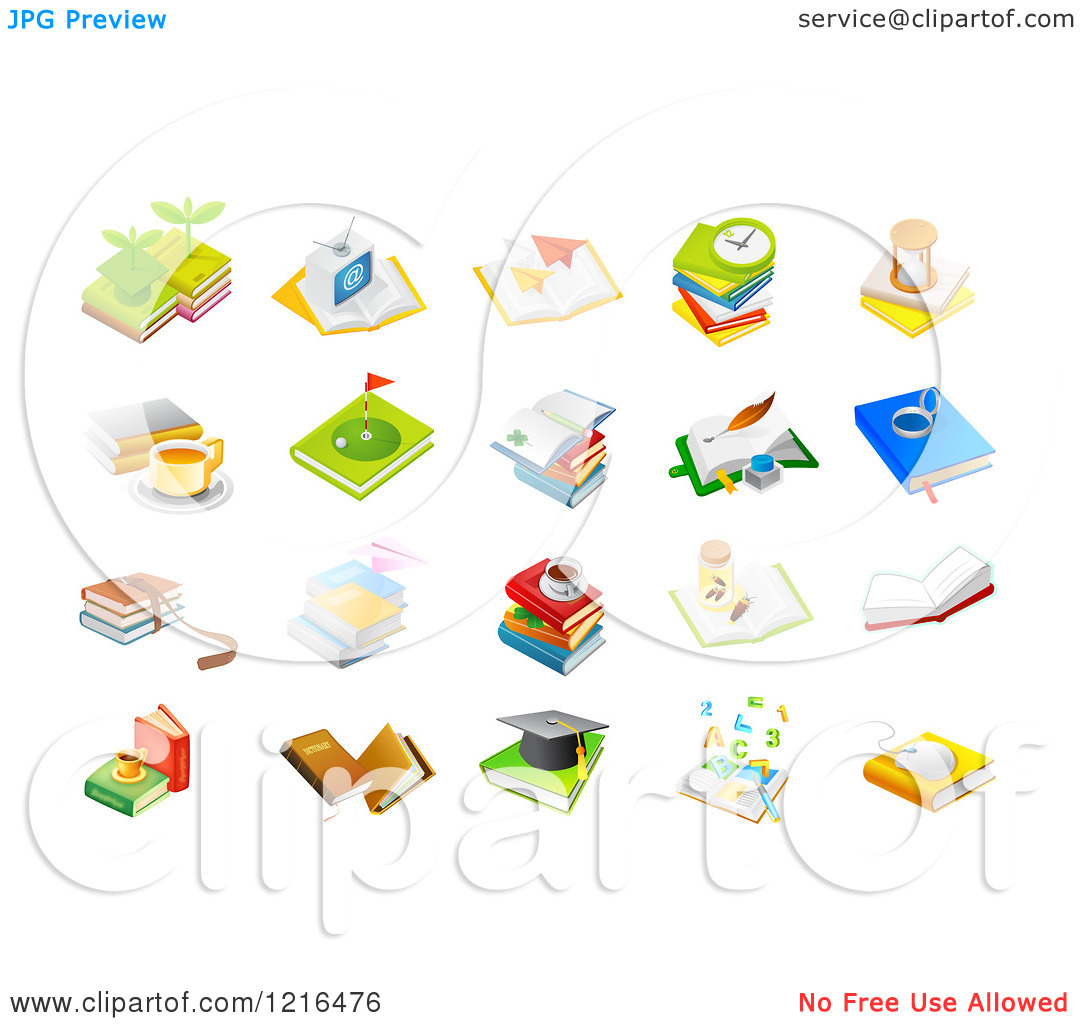 Books Cartoon Clipart Clipart of Book Icons