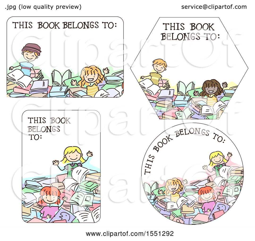 clipart of book label designs with children royalty free vector