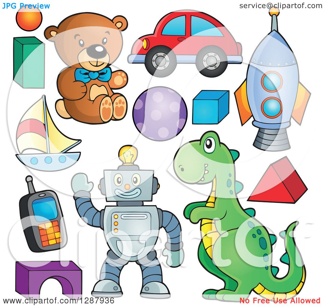 Boy Toys Clipart : Clipart of boy toys royalty free vector illustration by