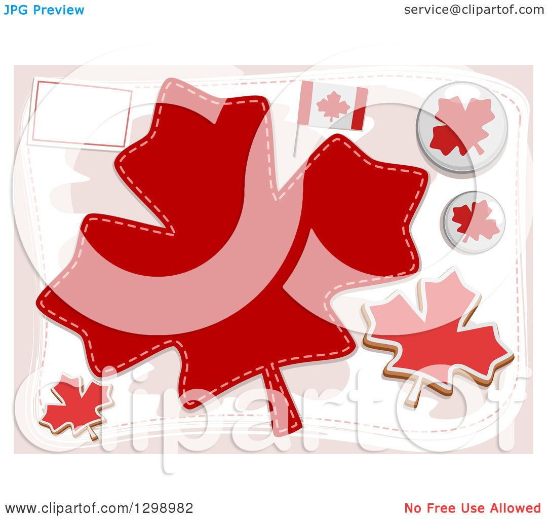 clipart of canadian flags pins and maple leaves royalty free