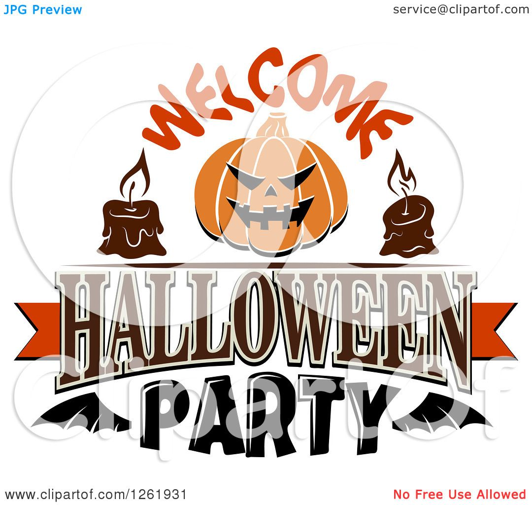 Clipart of Candles and a Jackolantern Pumpkin with Welcome ...
